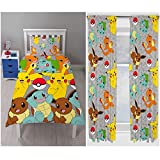 Pokemon Catch Rotary Single Duvet Cover Set + Matching 72' Curtains