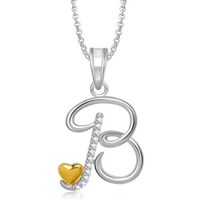 Meenaz silver plated b letter pendant locket alphabet heart with meenaz silver plated b letter pendant locket alphabet heart with chain for men and aloadofball Gallery