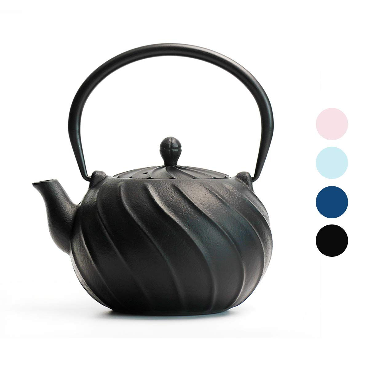 Stovetop Tea Kettle, TOPTIER Japanese Cast Iron Tea Kettle with Infuser for Loose Leaf and Tea Bags, Cast Iron Teakettle Coated with Enameled Interior for 40 oz (1200 ml), Midnight Black