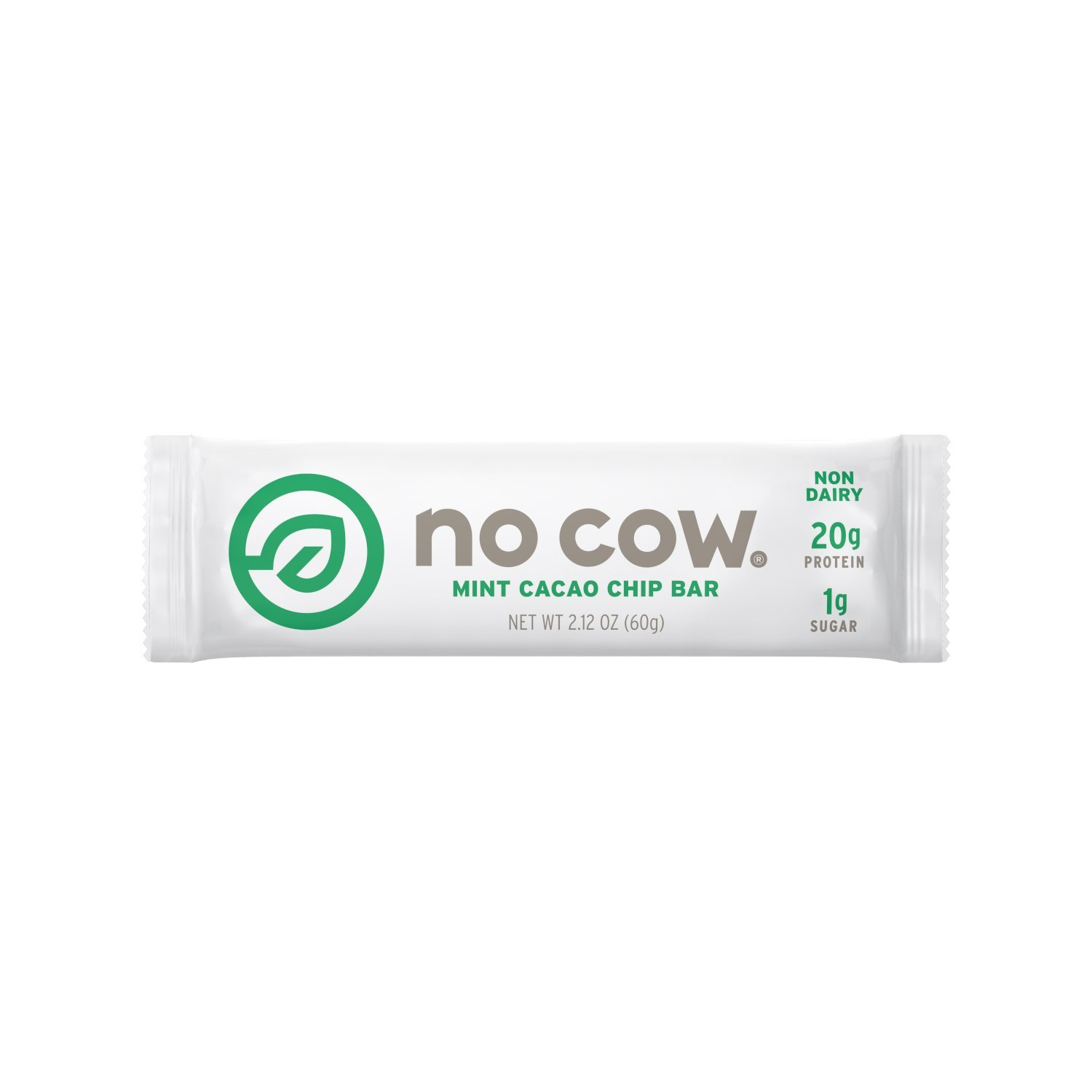 No Cow Protein Bar, Mint Cacao Chip, 20g Plant Based Protein, Low Sugar, Dairy Free, Gluten Free, Vegan, 12 Count