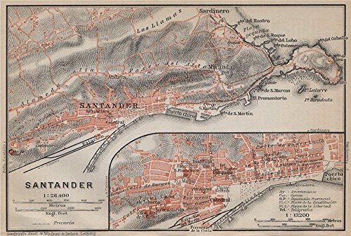 Santander Antique Town City Ciudad Plan   Environs  Spain Espa A Mapa   1913   Old Map   Antique Map   Vintage Map   Spain Map S