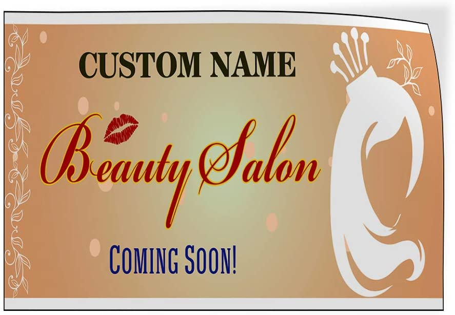 Custom Door Decals Vinyl Stickers Multiple Sizes Coming Soon Beauty Salon Business Coming Soon Outdoor Luggage /& Bumper Stickers for Cars Orange 64X42Inches Set of 2