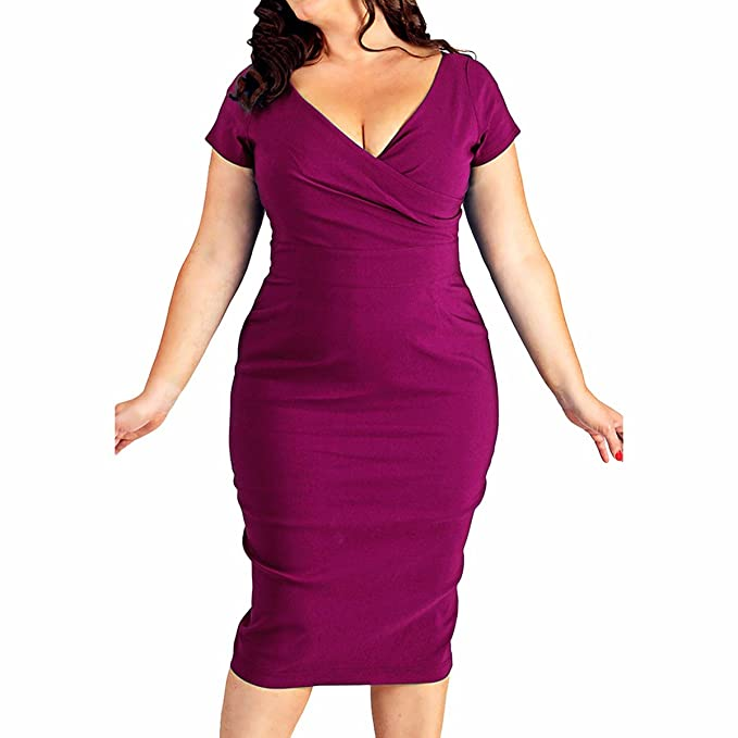Samtree Womens Plus Size Deep V Neck Cocktail Party Short Sleeve Bodycon Sheath Dress at Amazon Womens Clothing store: