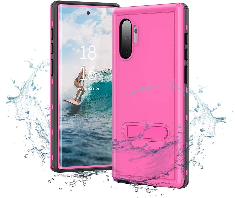"""Samsung Galaxy Note 10 Waterproof Case,IP68 Waterproof Case with Kickstand Built in Screen Protector Full Body Protective Cover Shockproof for Galaxy Note 10(6.3""""-Pink)"""