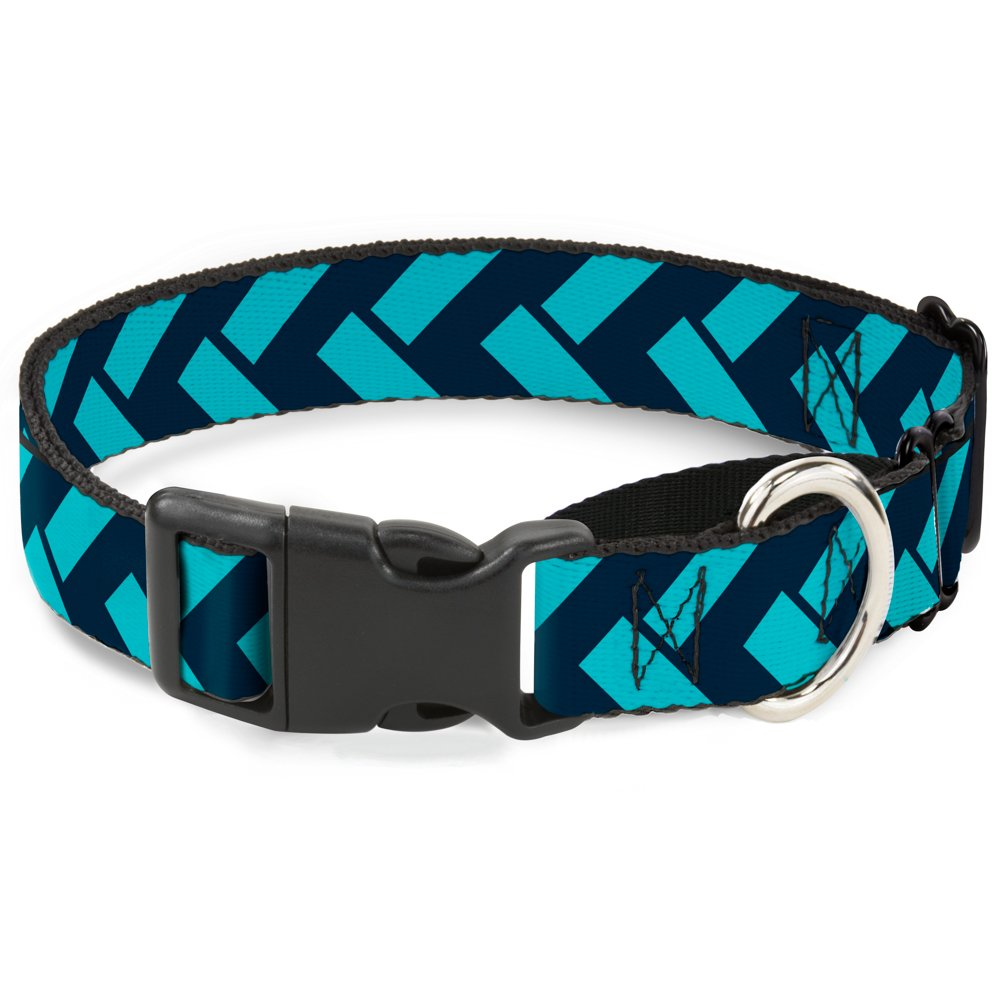 Buckle-Down MGC-W31014-L Jagged Chevron Navy Turquoise Martingale Dog Collar, Large