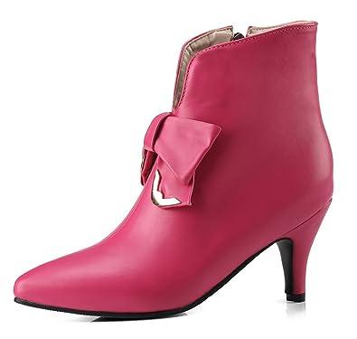 SHOWHOW Damen Spitze Kitten Heels Kurzschaft Stiefel Stiefelette Pink 41 EU U9S8eD