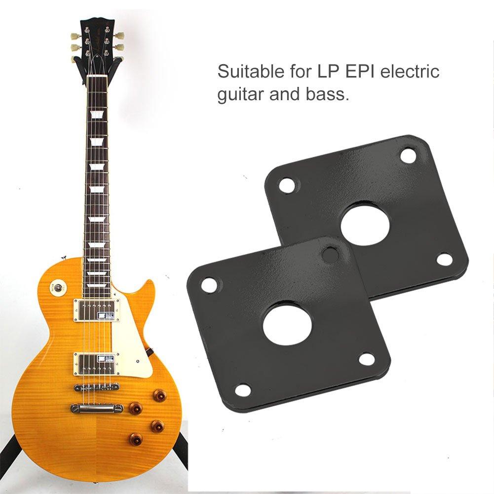 Placa de Conector de Guitarra Cuadrada, Salida de Guitarra eléctrica Placa de Conector de 2 pcs Metal Jack Placa de zócalo con Tornillos para Guitarra ...