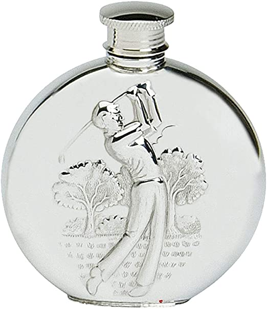 6oz Round Sheffield Pewter Hip Flask Hand Made in England with Free Engraving