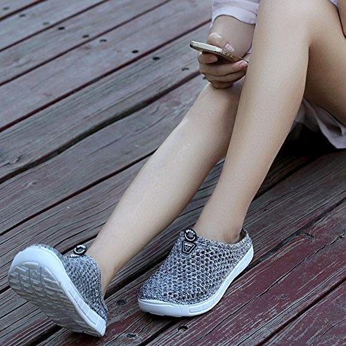 Casual Summer Mesh Amphibious Tomwell Sandals Shoes Slippers Cloth Aqua on Breathable Flip Shoes Women Grey Anti Clogs Flops Slip Net Beach Slip fqqBwFU5