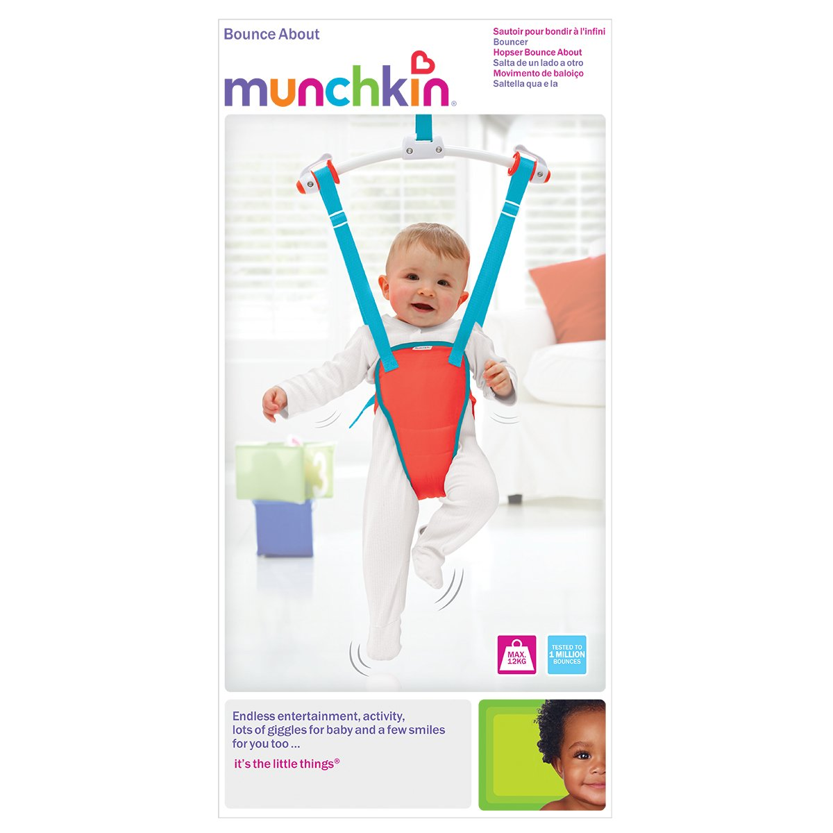 munchkin bounce about baby door bouncer red blue amazon co uk baby