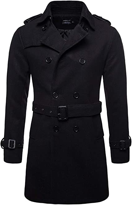 AOWOFS Men's Trenchcoat Wool Blend Winter Long Double Breasted Overcoat  Slim Fit Warm with Belt at Amazon Men's Clothing store