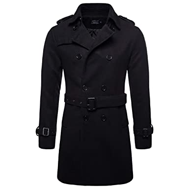 c454a8486 AOWOFS Men's Trench Coat Woolen Winter Long Double Breasted Overcoat Slim  Fit Warm Pea Coat