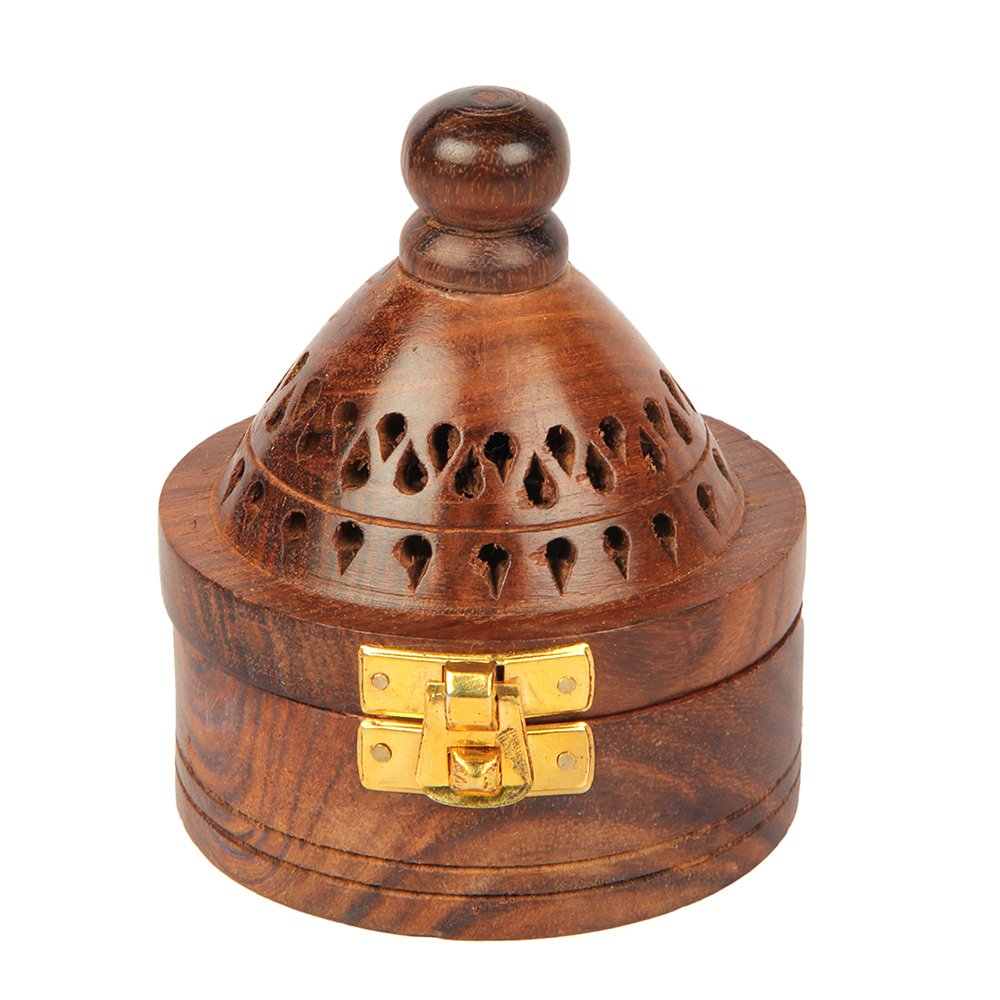Aheli Wooden Round Style Incense Dhoop Cone Burner Holder with Base Square and Top Cone Shape Holder