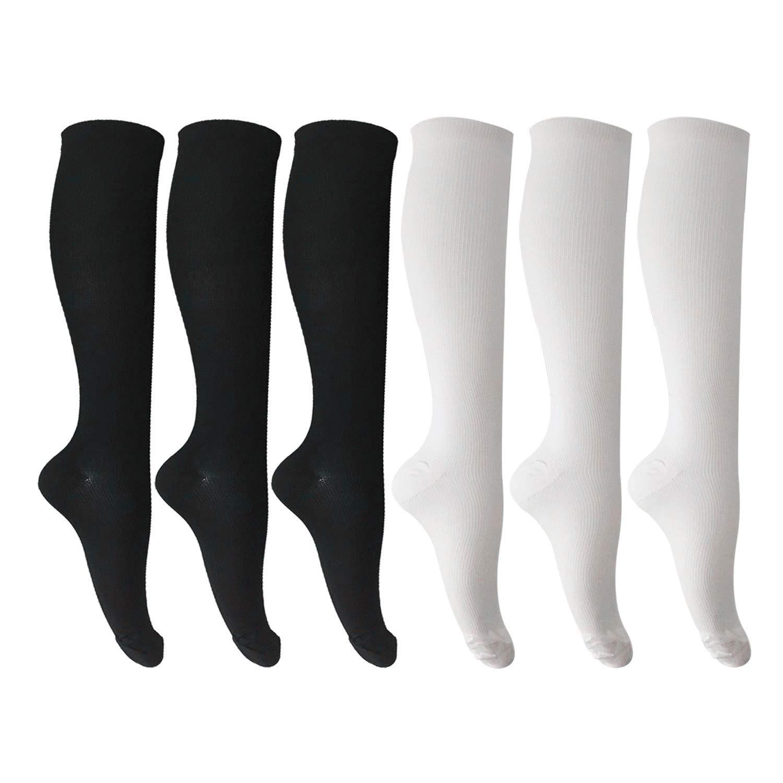 6 Pairs of Unisex Compression Socks (15-20mmHg) for Running, Nurses, Shin Splints, Travel, Flight, Pregnancy & Maternity XX-Large 3 Black,3 White by MIXSNOW
