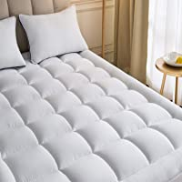 Mattress Topper Queen with 1 Pillow Case Plush Down Alternative Pillow Top 60x80 Inches Quilted Fitted Skirt Protector Mattress Pad Reviver Enhancer Deep Pocket Fits 20 Inches Soft