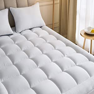 Mattress Topper King 78x80Inches Quilted Plush Down Alternative Pillow Top Fitted Skirt Protector Mattress Pad Reviver Enhancer Deep Pocket Fits 8-21 Inches Soft White Bed Cover