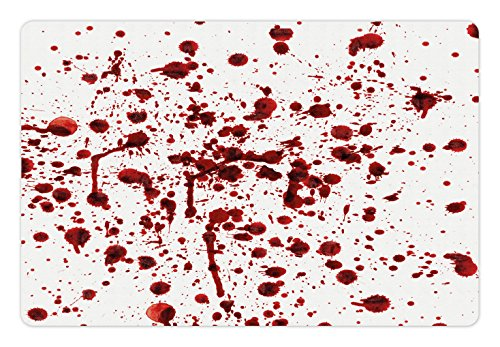Ambesonne Horror Pet Mat for Food and Water, Splashes of Blood Grunge Style Bloodstain Horror Scary Zombie Halloween Themed Print, Rectangle Non-Slip Rubber Mat for Dogs and Cats, Red White -