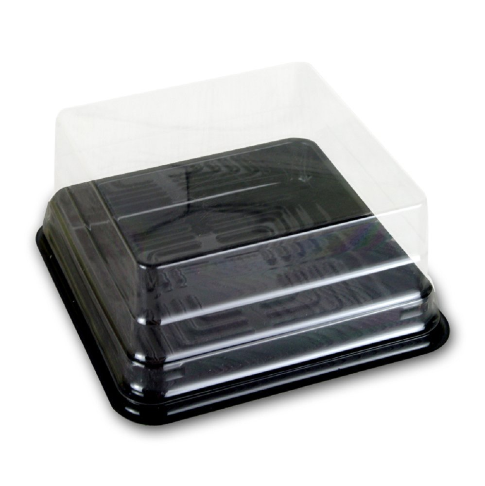 Cake Box - 4'' Transparent Plastic Mini Cake Box - Feast Cupcake Box - Muffin Box Biscuit Box Flat Top Box Bakery Cake Shop Sale Use (black) by Hewnda (Image #1)