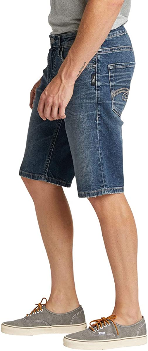 Mens Zac Relaxed Fit Jean Short Denim Shorts Silver Jeans Co