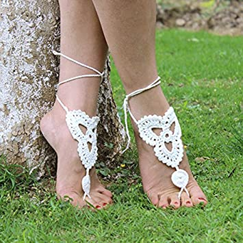 Vococal - 1 par Zapatos Tobillera Pulsera de Crochet Sandalias Pies Descalzos para Novia Dama de