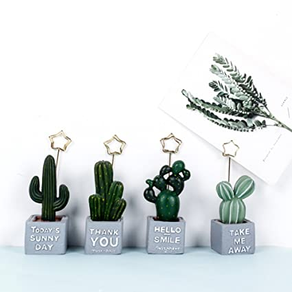 loghot 4 pcs mini cactus shape wooden picture stand note clip memo holder table number holders