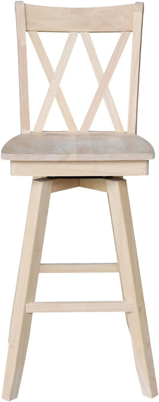 International Concepts Double X Back Barheight Stool with Swivel and Auto Return, 30 , Ready to Finish