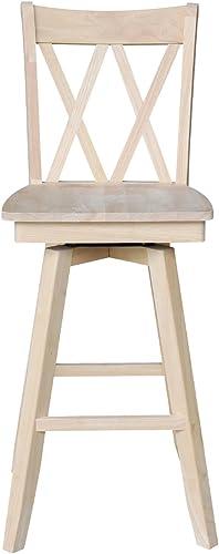 International Concepts Double X Back Barheight Swivel Seat Bar Height Stool