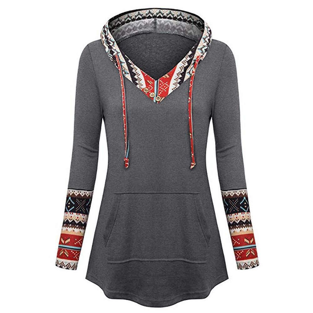 Hoodies Women Vintage Print Patchwork Female Hooded Sweatshirt Hoodie Tracksuit Casual Pullover,Gray,S,China