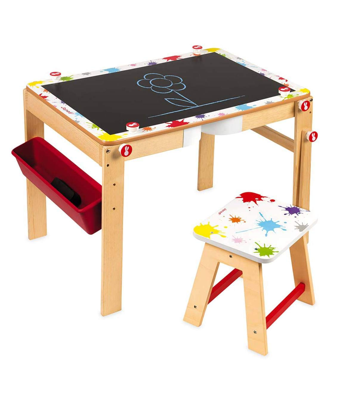 2-in-1 Convertible Art Station for Kids - Desk and Stool Special - Magnetic Whiteboard and Black Chalkboard - Includes Marker, Chalk, and Eraser, Storage Tray - 30 L x 20.5 W x 20.25 H Magic Cabin