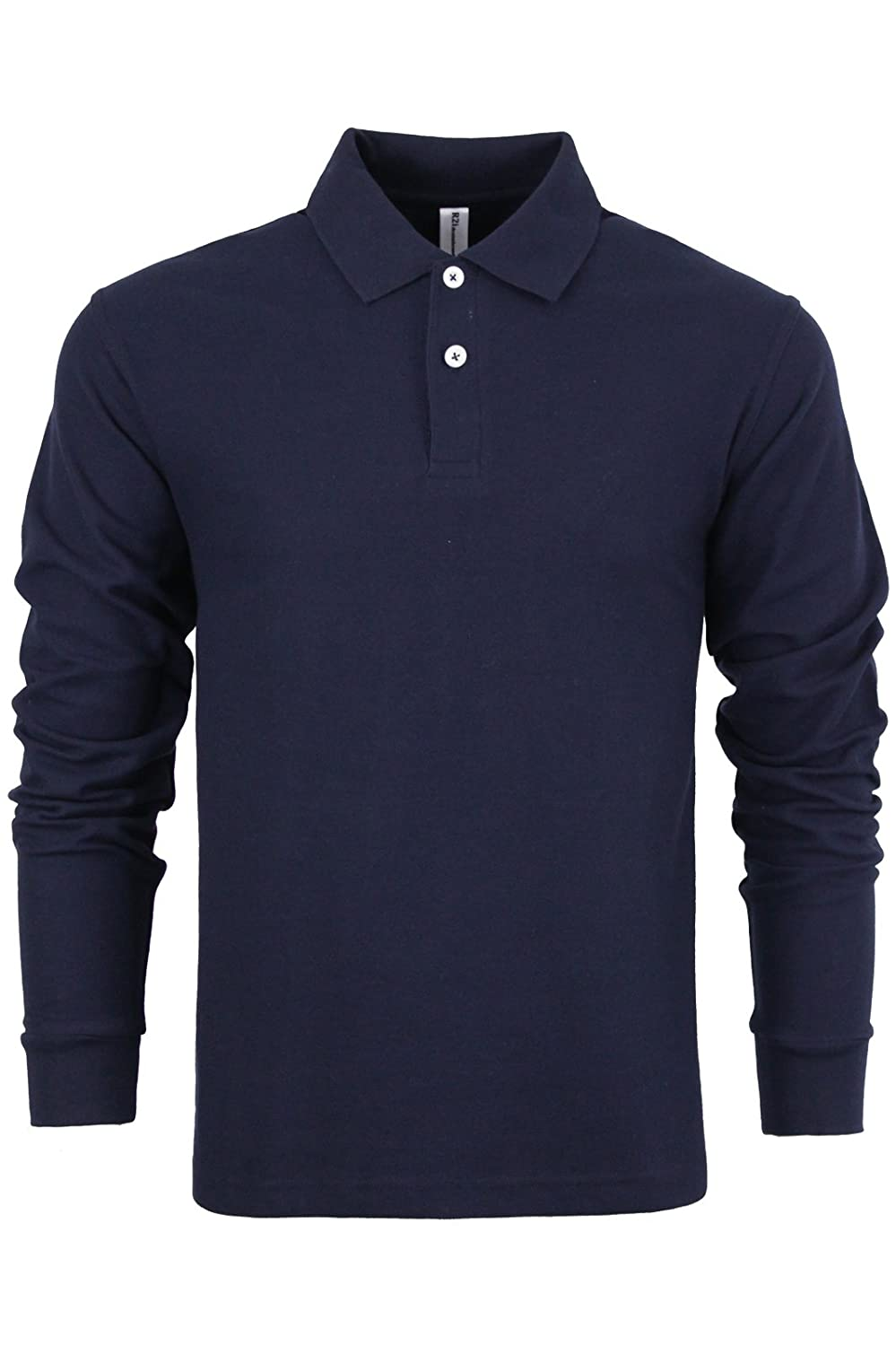 R2i Mens Polo T Shirt Knitted Top Plain Long Sleeved Collared Casual S-XXL New