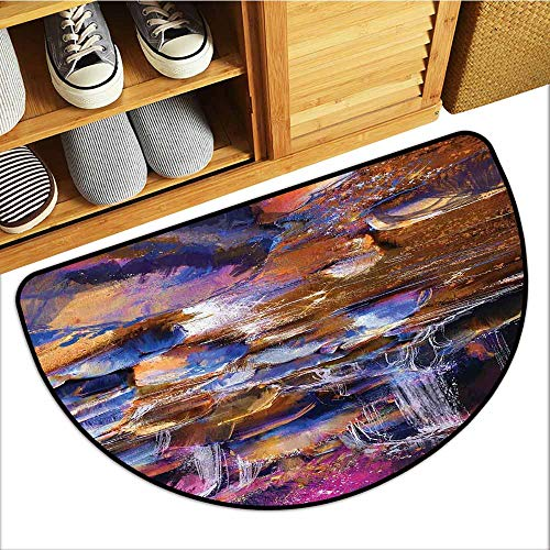 Low-Profile Mat, Waterfall Custom Doormats for High Traffic Areas, Painting of Fairy River Amongst Colorful Rocks Myst Artistic Universe (Chocolate Pink Teal, H24 x D36 Semicircle)