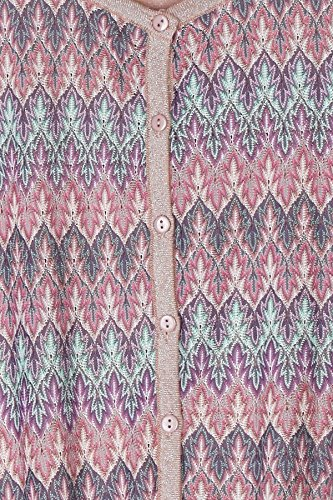 Gilet boutonné col rond en maille lurex, brodé de motifs ethniques Generica - XLF1002 – ROSE – T1