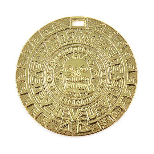 Beverly Oaks Amazing Aztec/Mayan Gold Color Charm Medallion 1 3/4 inches Round with Slot, Cosplay, Exclusive COA and Bonus Gold Pirate -