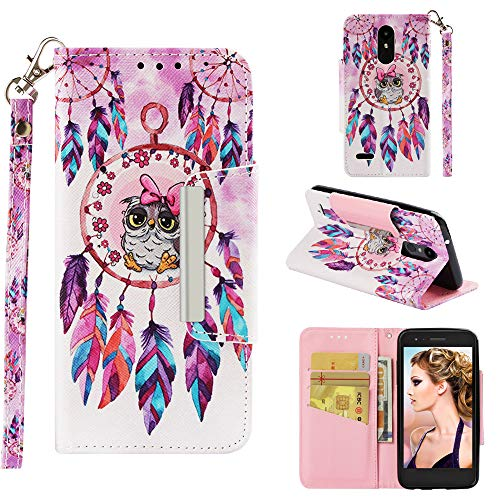 Yobby LG K8 2018/LG Aristo 2 Flip Wallet Case,Slim Premium PU Leather Case with Vintage Pattern Design,Credit Card Holder Magnetic Closure Stand Shockproof Cover-Owl Wind Chimes