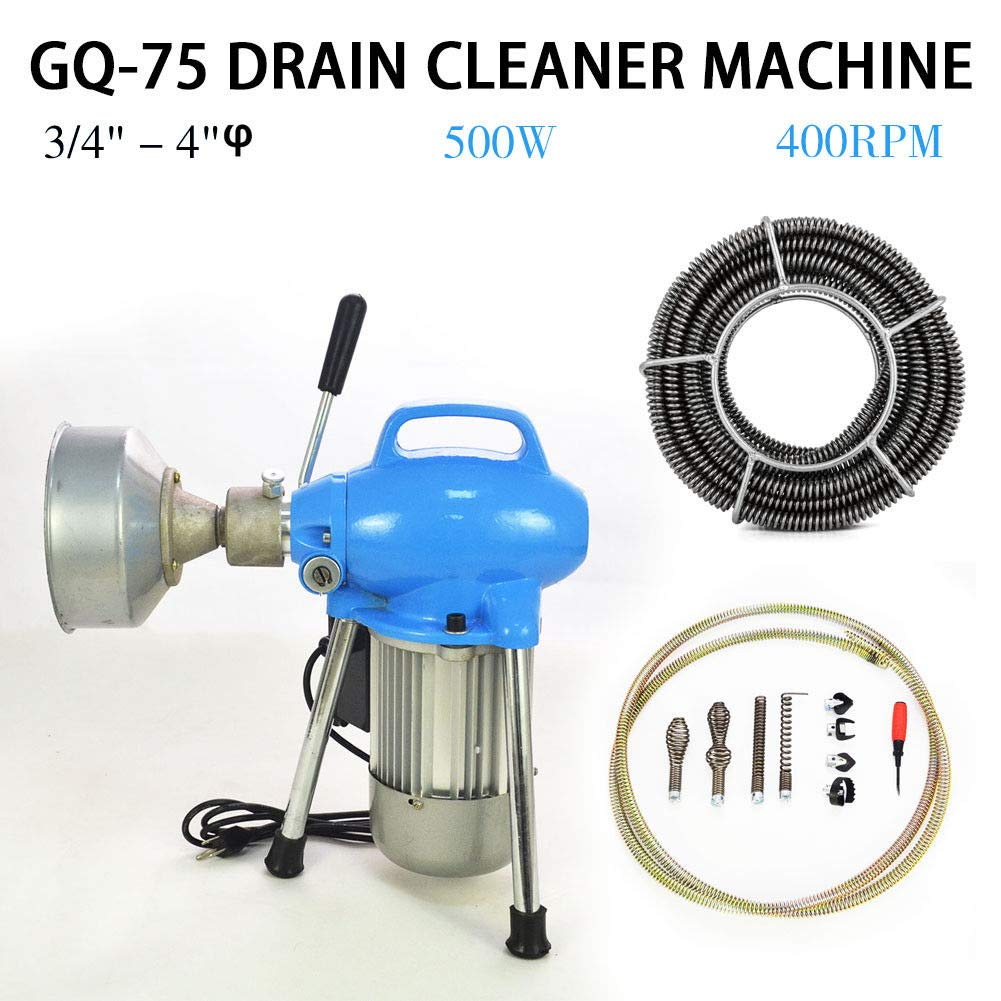 110V 500W 3/4''~4'' Sectional Electric Pipe Drain Cleaner Cleaning Machine Pipeline Dredger