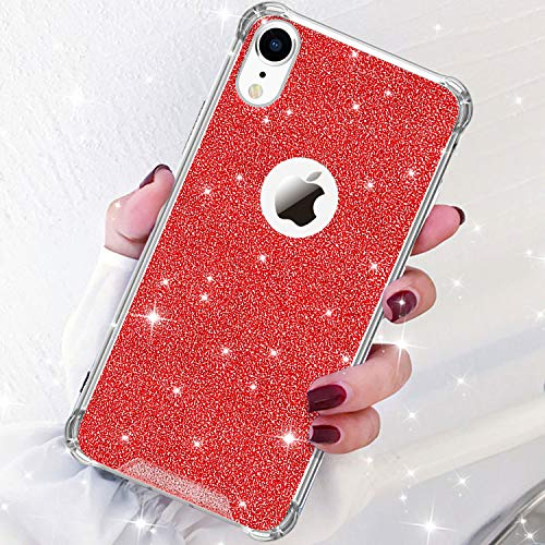 DAUPIN Compatible for iPhone XR Phone Case Protective Defender Thin Slim Clear Bling Glitter Shockproof Cases Hard Back Plastic Gold Edge Cover for Women Girls for iPhone XR 6.1 inch (Red)