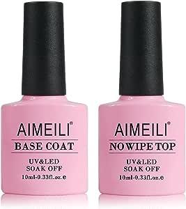 AIMEILI Soak Off UV Led Gel Nail Polish - Base And No Wipe Top Coat Kit Set 10ML