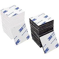 MINGZE 40 Stuks Zelfklevende Pads, 3M Super-Sticky Dubbelzijdige Wit Zwart Schuimrubberen Vierkant Sticky Pad Sterke…