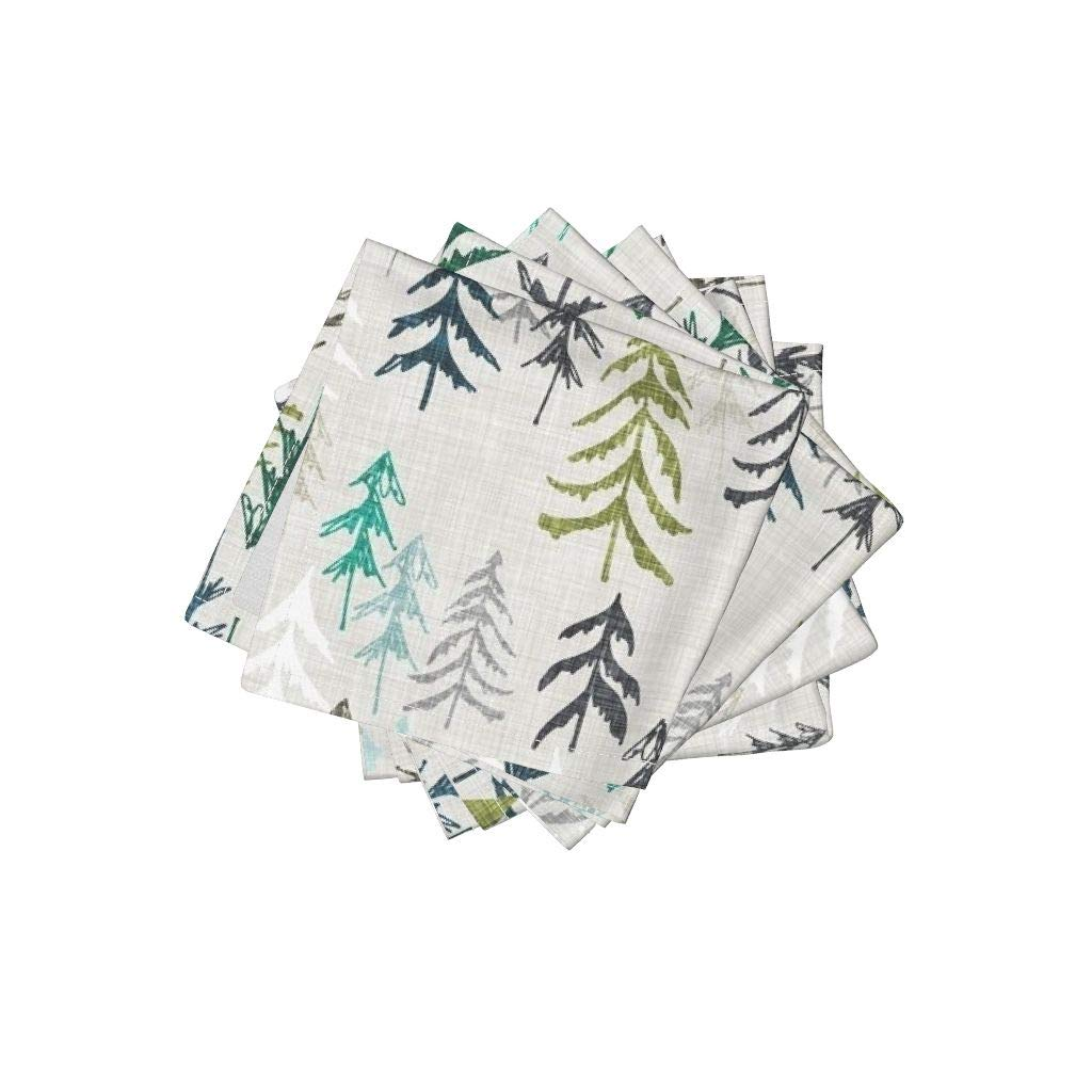 Roostery Forest Organic Cotton Sateen Cloth Cocktail Napkins - Woods Explore Mountain Camping Trees by Nouveau Bohemian (Set of 4) 10 x 10in