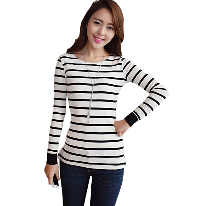 1fc1f487889d4 Nanxson Women Striped Long Sleeve T Shirt Slim Fit in Black/White for Girls  TXW0003
