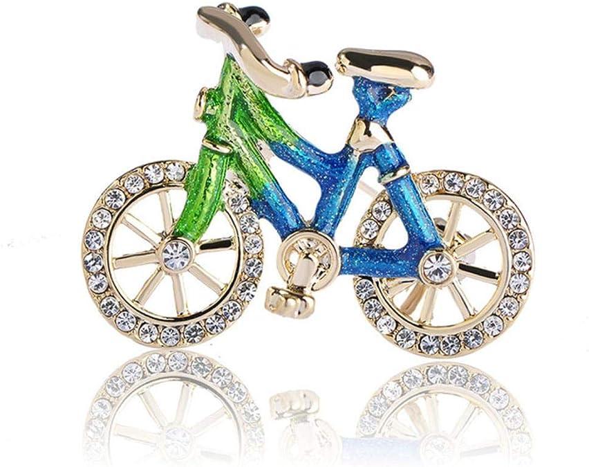 QSCVHU Azul Esmalte Cristal Bicicleta Broche de Color Oro Adorno ...