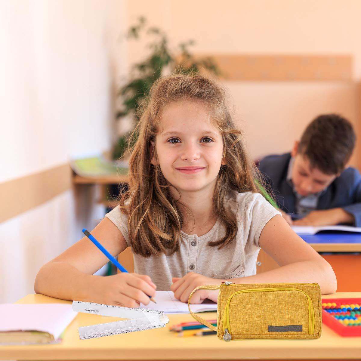 universit/à cancelleria grande capacit/à per scuola BYSOU Astuccio per matite e penne ufficio con cerniera Rosa e bianco.
