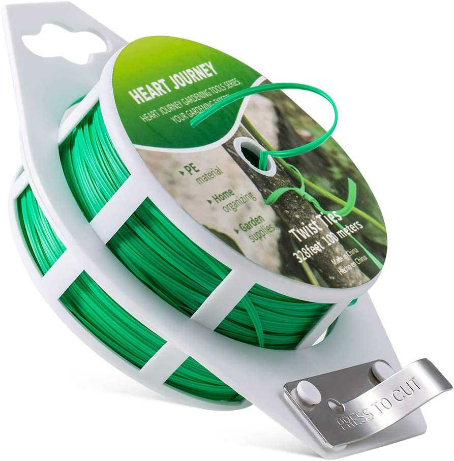 Heart Journey 1PCS 328feet (100M) Twist Tie Plastic Coated with Cutter for Garden Plants, Garden Ties, Green Plant Ties Made with Premium Materials, Twist Ties for Home & Office, Easy Cut and Reusable