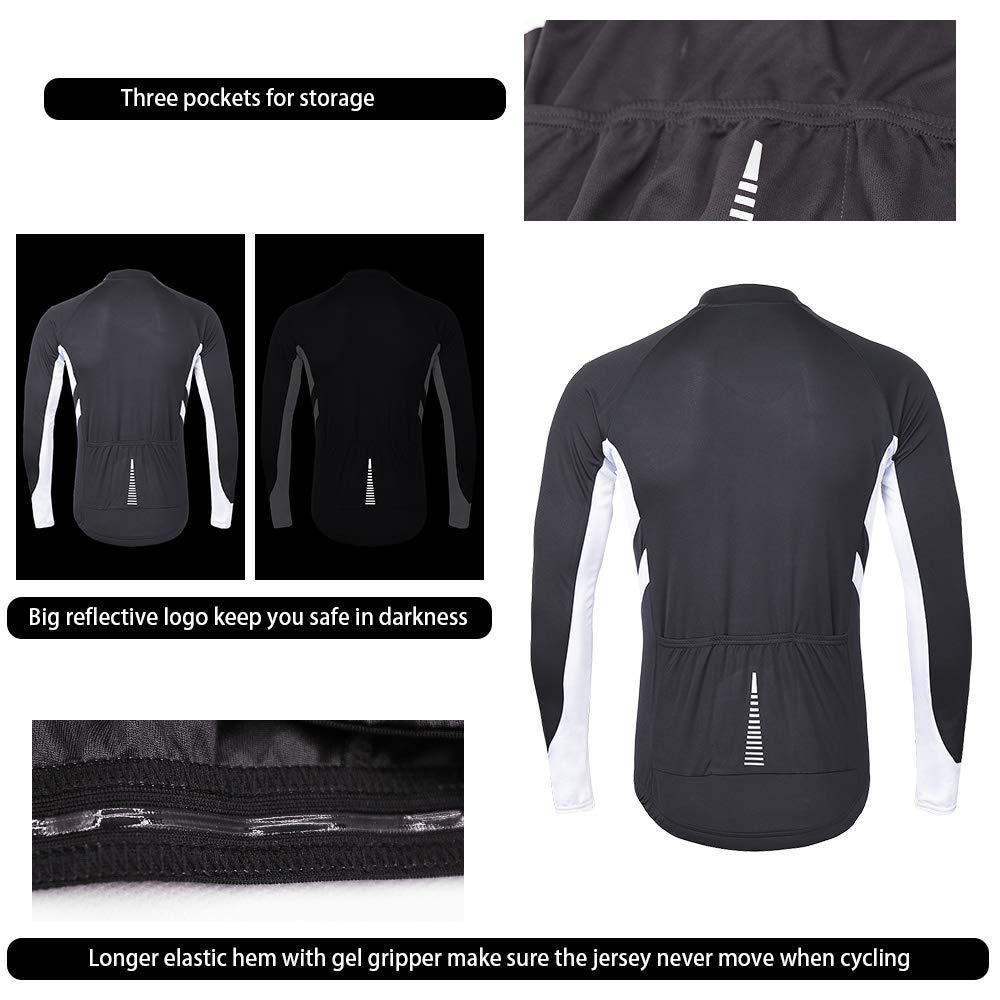 cc13c40a2 ARSUXEO Mens Full Zipper Long Sleeves Cycling Jersey Bicycle MTB Bike Shirt  6030