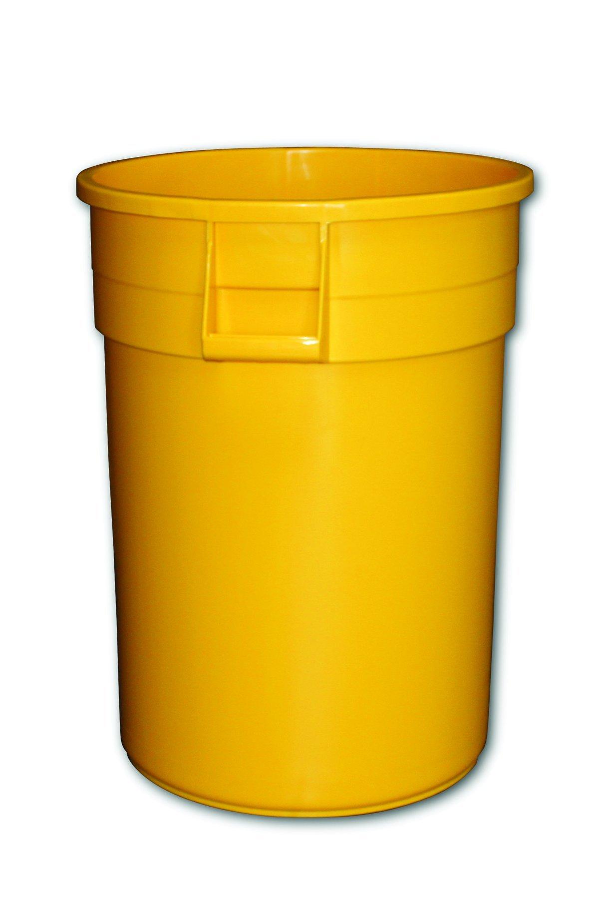 Impact 7744-16 Gator Plastic Container, 44 Gallon Capacity, 23-3/4'' Diameter x 31-5/8'' Height, Yellow (Case of 4)