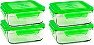 Wean Green Set of 4 Meal Cubes - Eco-Friendly BPA-Free Durable Glass Food Container - 28oz Pea