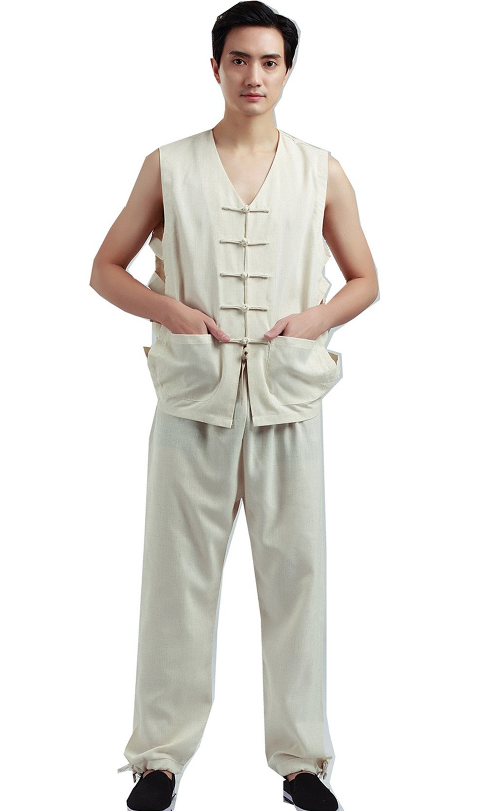 Shanghai Story Mens Chinese Style Vintage Sleeveless Frog Button Linen Vest M