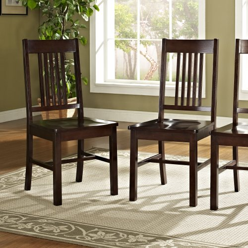 Solid Wood Cappuccino Dining Chairs, Set of 2 (Cappuccino Finish Slat Design)
