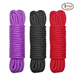 (US) 3-Pack 32 Feet 10M Soft Twisted Cotton Rope( Black,Red and Purple)