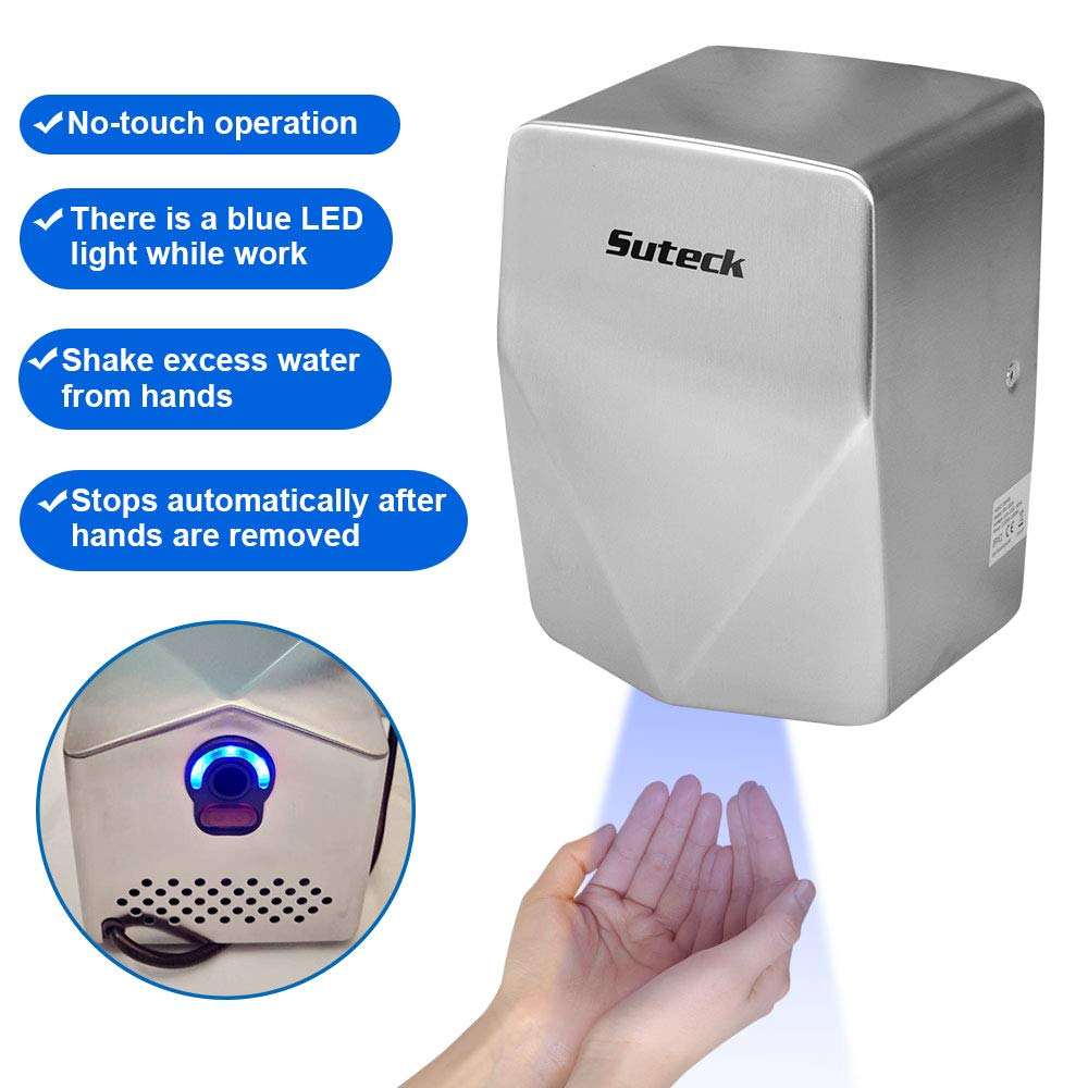 Suteck Automatic High Sensitivity Wall Hand Dryer, Brushed Silver Stainless Steel Cover, 100M/S Wind Speed Surface Mounted Commercial Hands Drying Device, LED Light Guide by Suteck